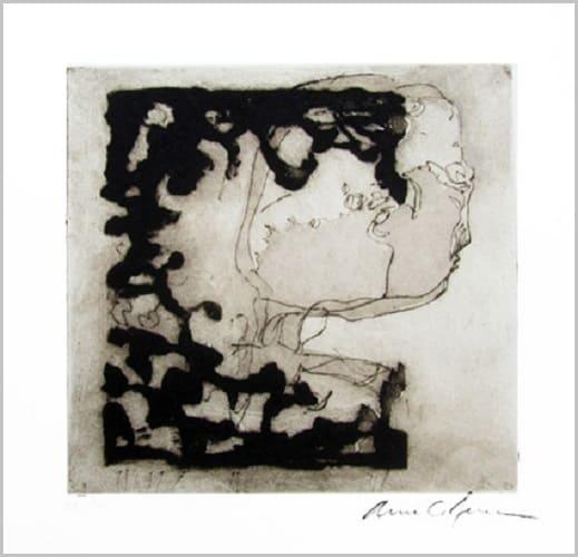 Gravure contemporaine -Profil animal-Theme Moucharabieh Anne Carpena