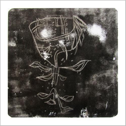 Gravure-contemporaine-amulette- theme confrerie masquee Anne Carpena