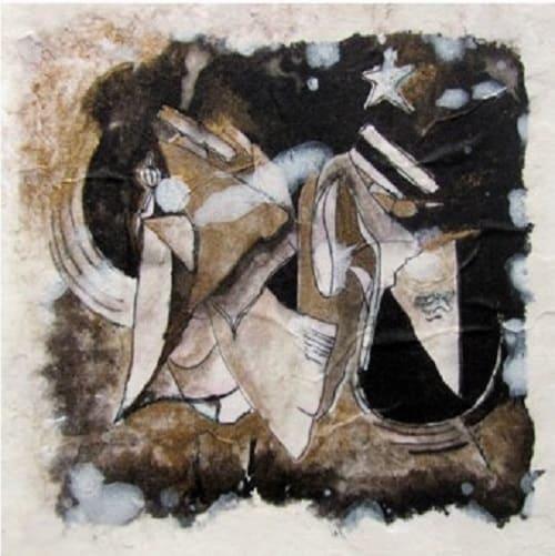 Ici -encres et platre sur papier japon- theme paradigmes Anne Carpena