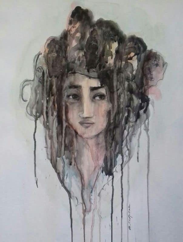 Point d'entente aquarelle et pierre noire Anne Carpena
