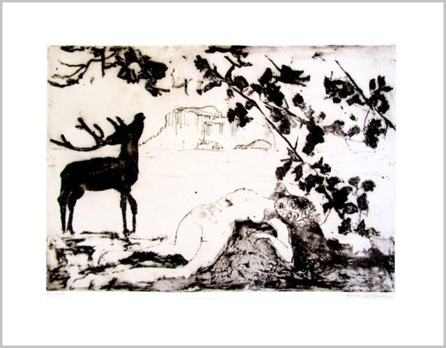 Gravure contemporaine-Les rivages lactés-Theme présage imobile Anne Carpena
