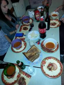 American dinner: grilled cheese and tomato soup
