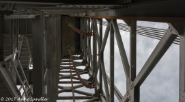 Looking up into one of the bridge towers.