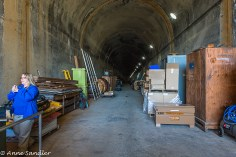 Now used as storage, this tunnel was integral in the building of the Dam.