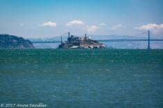 The Bay Bridge and Alcatraz Island.