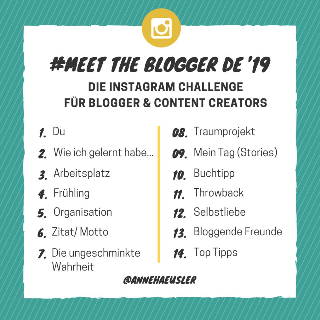#MeettheBloggerDE19  Die Instagram Challenge für Blogger & Content Creators