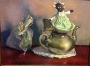 """""""While Madame's Away"""" oil on oanel"""
