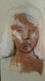 Petit visage d'encre et de Henné sur carton 35x20. 2017