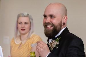Wedding guest blowing bubbles