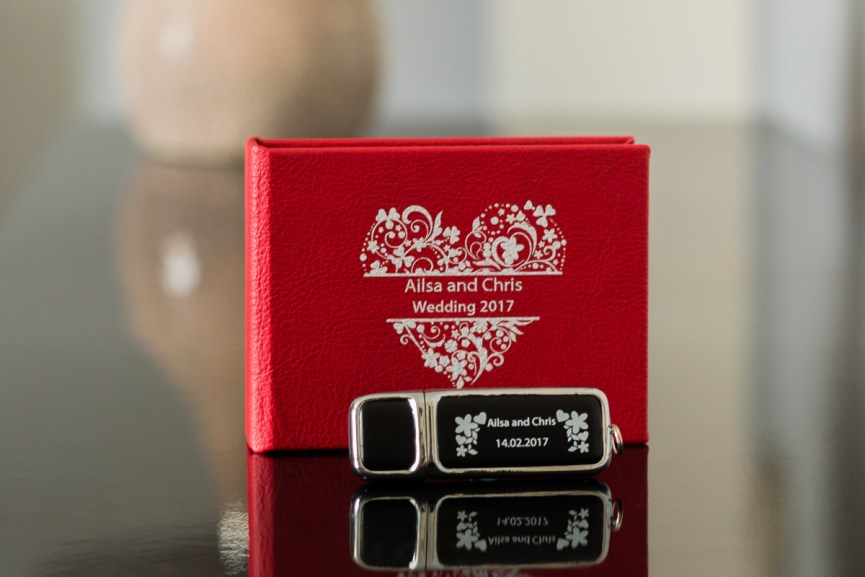 Personalised wedding USB and case