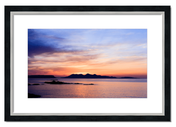 Fine art framed print of Eigg and Rhum from Camusdarach