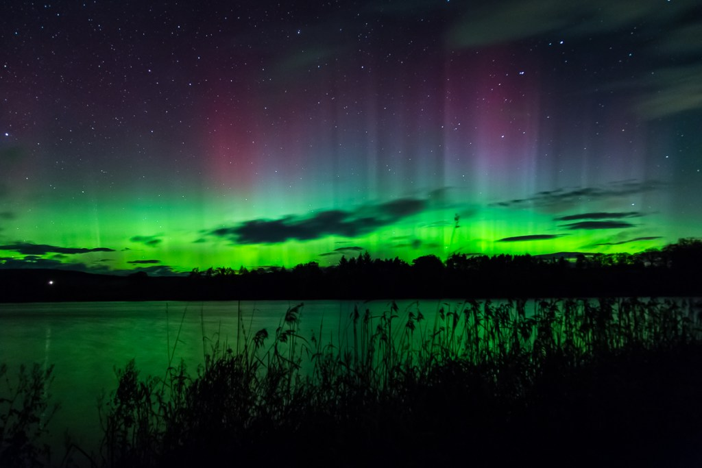 Northern lights over Balgavies Loch, Angus