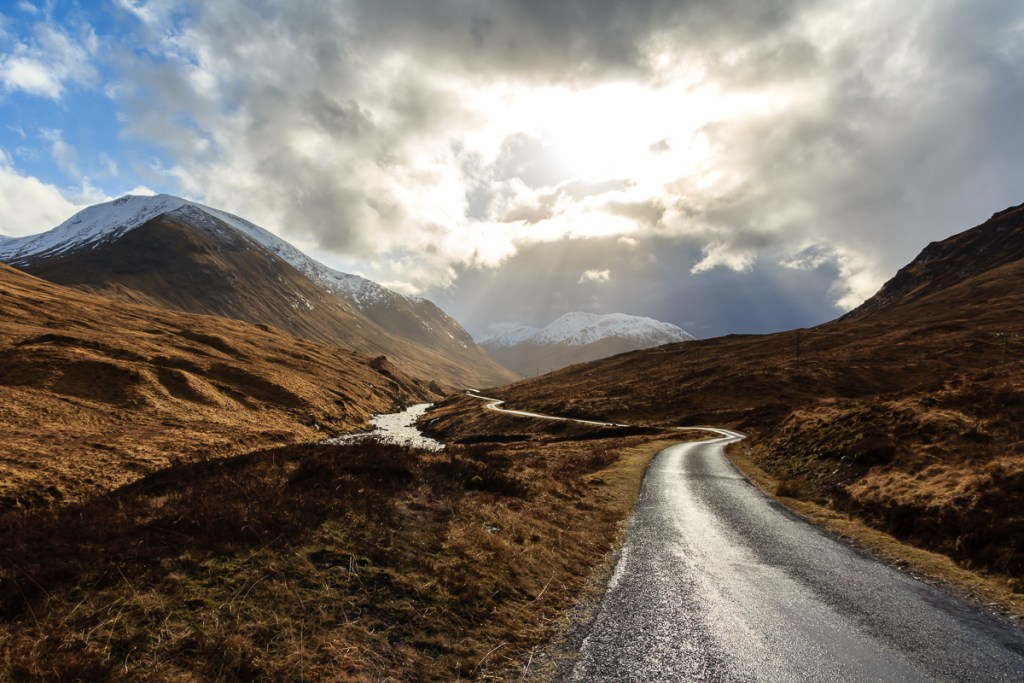 The road into Glen Etive on a cloudy day
