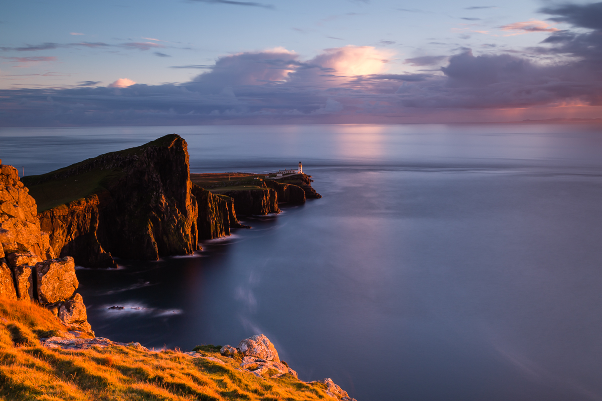 The golden hour light shines on Neist Point just before sunset