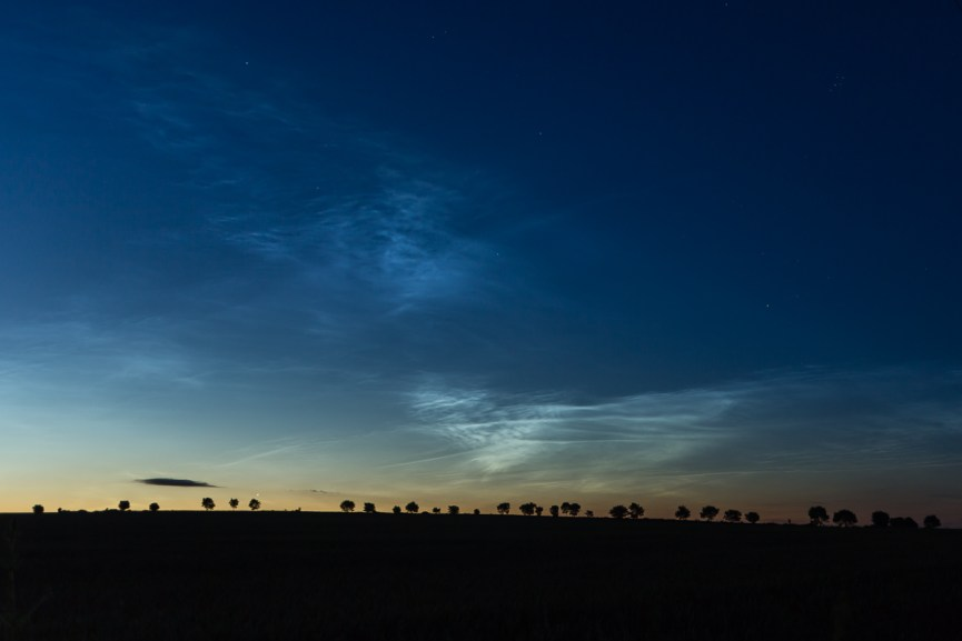 Noctilucent clouds near Redford, Angus