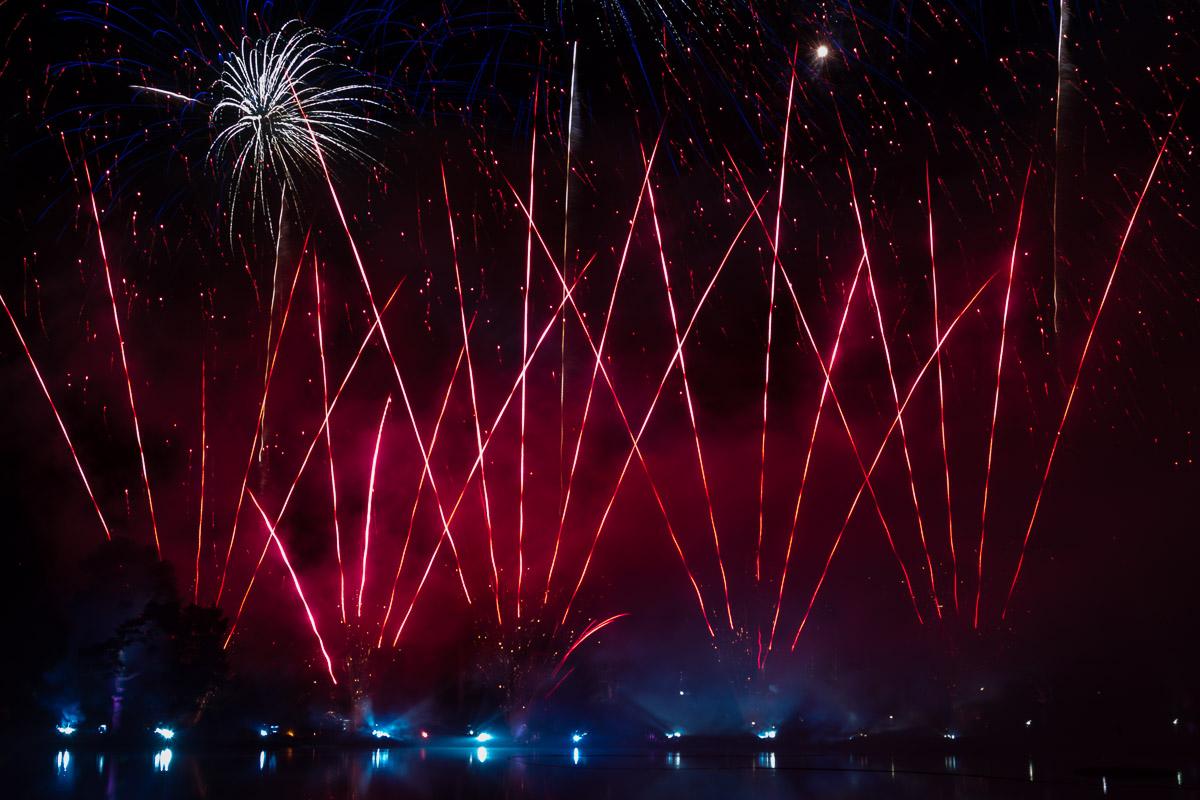 Fireworks and laser display