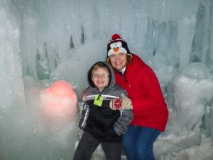 "Arthur and Anne with ""Dinosaur Eggs"" of ice at the Ice Palace in Minneapolis"