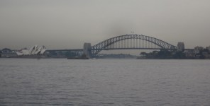 The Bridge, with a glimpse of the Opera House (Photo copyright: Anne Lawson 2014)