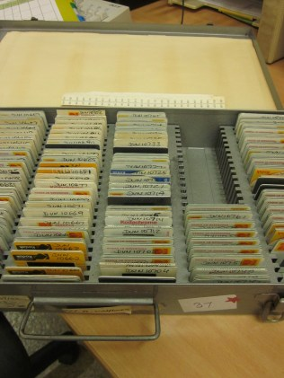 One of the boxes of slides (Photo copyright: Anne Lawson, 2016)