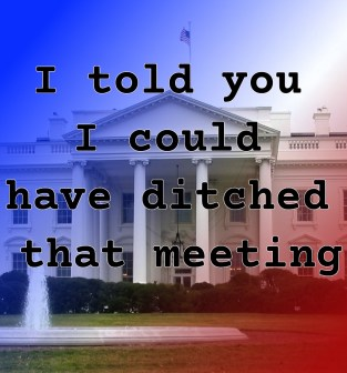 "Pull quote from romantic fiction serial White House Rhapsody: ""I told you I could have ditched that meeting."""