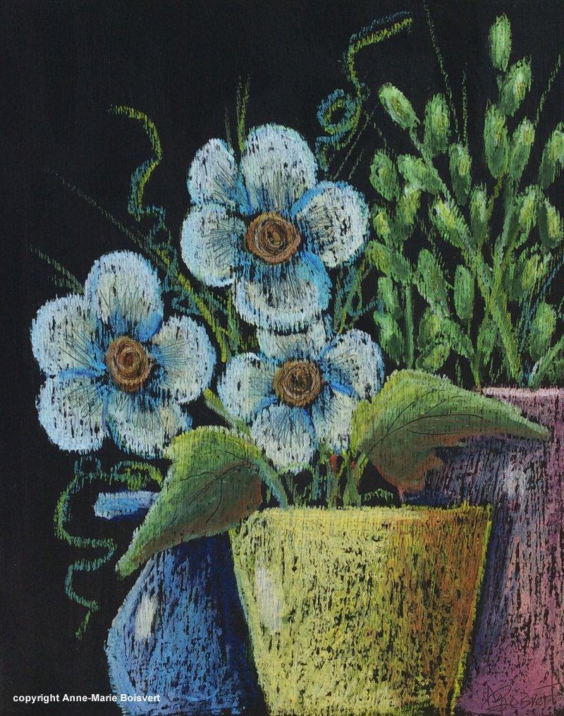 Pots de fleurs sur fond noir (pastel à l\u0027huile) \u2013 Anne,Marie Boisvert