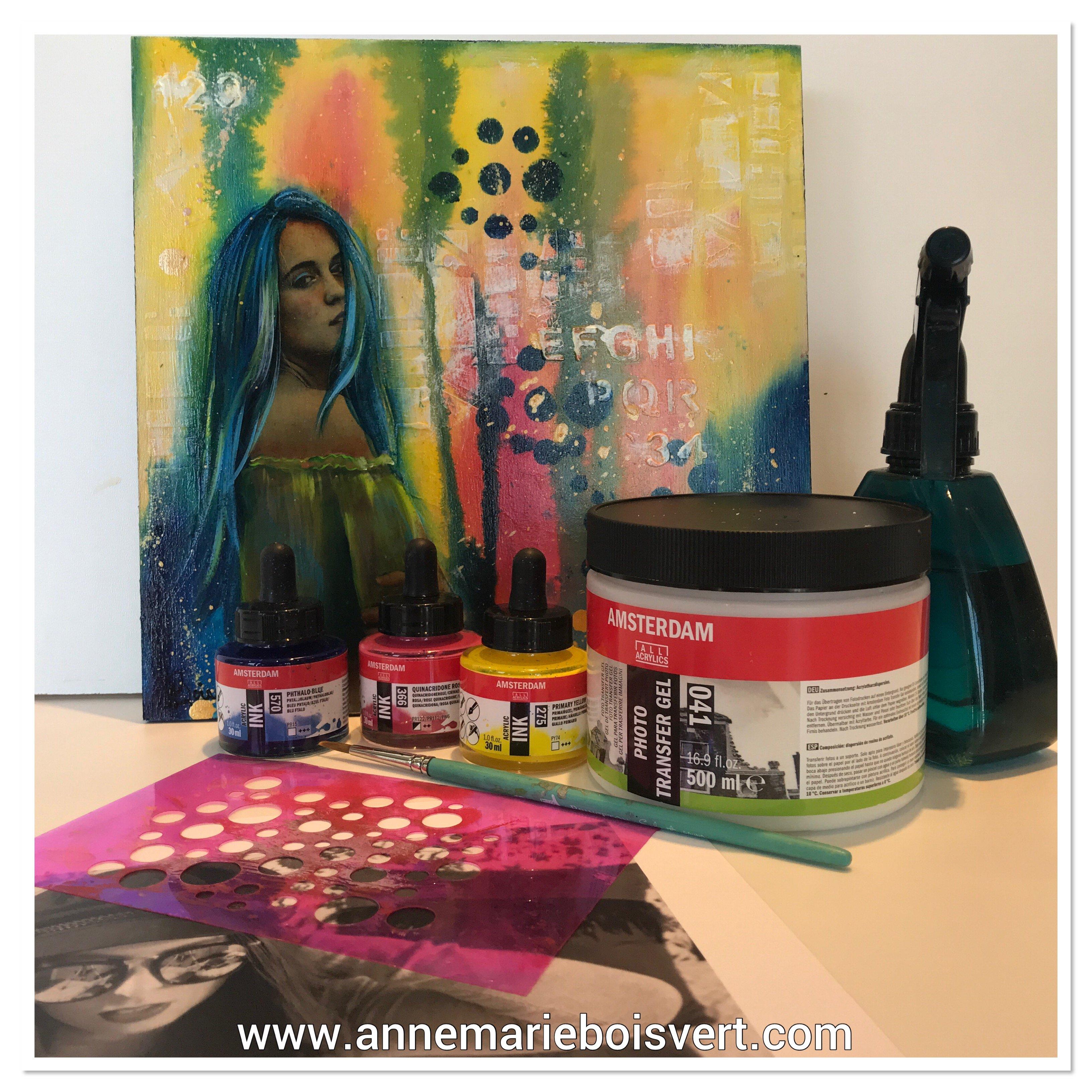 paix et amour transfert image et coloration encre acrylique