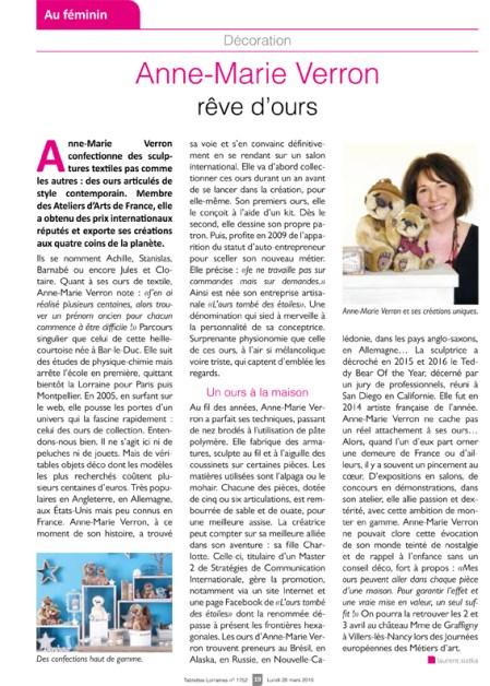 Tablettes Lorraines Anne Marie Verron sculpteur textile ours tombe etoiles artisanat art Nancy