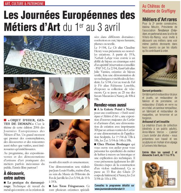 54 Mag Anne-Marie Verron sculpteur textile ours tombe etoiles artisanat art Nancy JEMA 2016