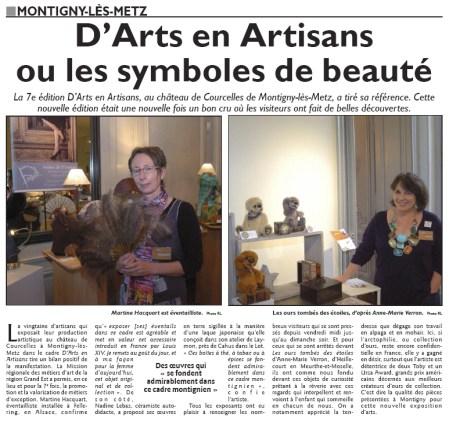 D Arts en Artisans Courcelles Metz 2016 Républicain Lorrain Anne Marie Verron sculpteur textile ours tombe etoiles artisanat art Nancy