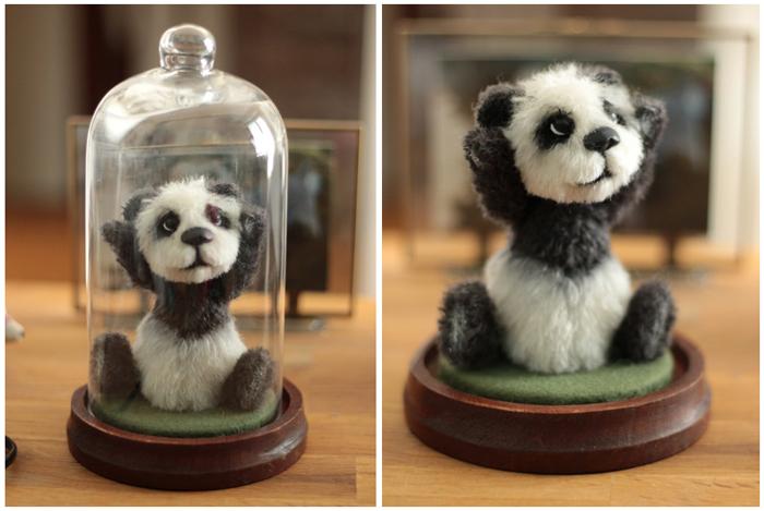 Artisanat art Lorraine cloche verre globe piece unique Anne Marie Verron Alexis panda