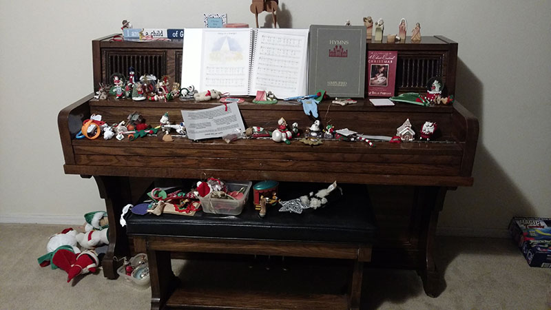 Ornaments strewn on Piano