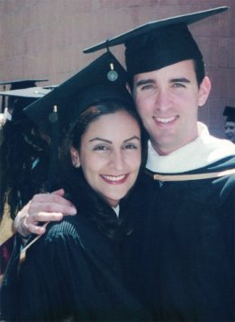 Mandana Mellano, a passionate advertising professional, photographed along with her husband after their graduation at USC.