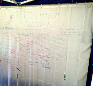 A white shower curtain makes a great whiteboard to collect science questions.