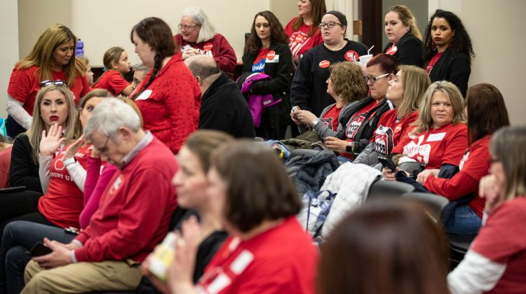 Hundreds of Kentucky teachers call in sick to descend on Capitol for pension bill strike