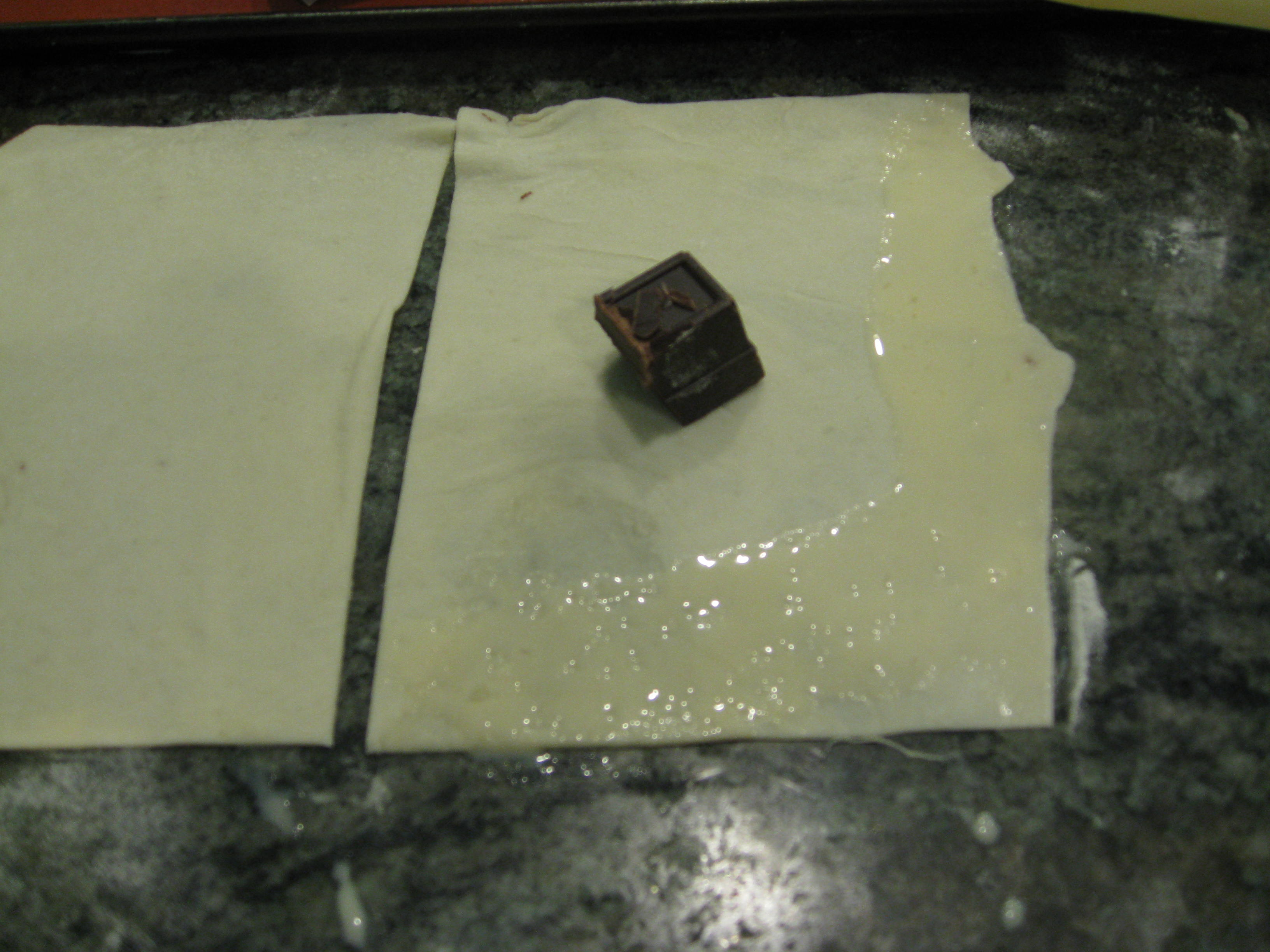 Add chocolate and brush edges