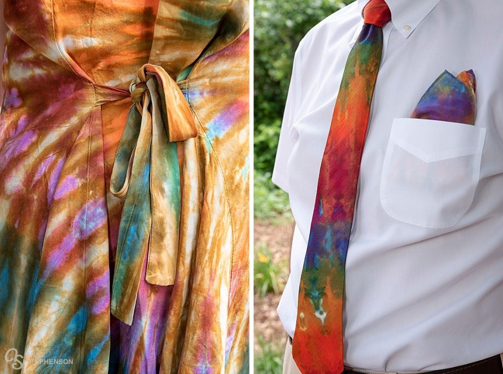 Tie-dye details made the wedding a warm and beautiful expression of color. Also a perfect attire for the Dead and Company following the wedding celebration.