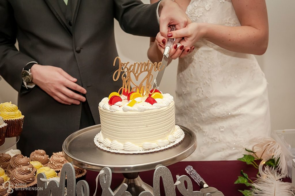 The bride and groom cut their cake from Rheinlander Bakery.
