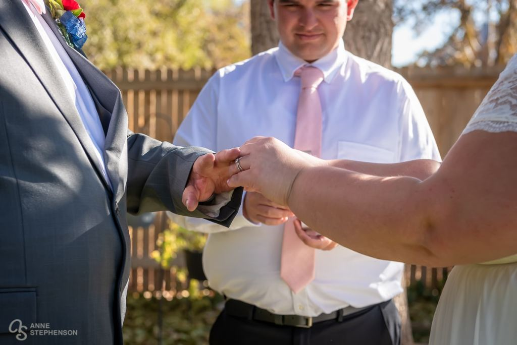 In addition to their Denver Temple Wedding, the couple participated in a ring ceremony in her Aunt's backyard.