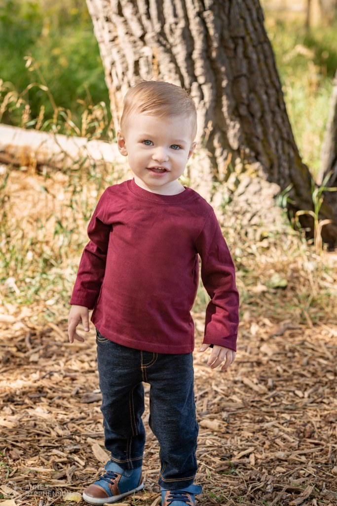 Leaves, insects, trees and running water entertain this toddler at his McKay Lake Trail portrait session.