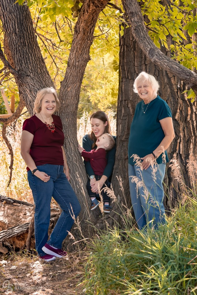 Mom, son, Grandma and Great Grandma enjoy nature during this portrait session at McKay Lake Trail.