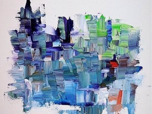 colourful abstact painting blue light purple and green