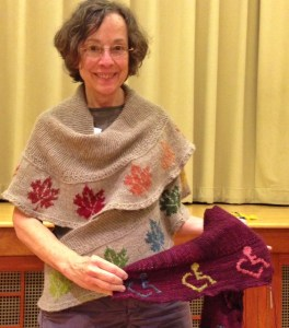 Val McPherson, designer of the Seneca Maples version of the Namanu shawl, is a member of RKG, and was there to model her shawl.  She also shared her other version of the shawl, with a special motif she designed for her grandson, who uses a wheel chair due to a spinal disease.