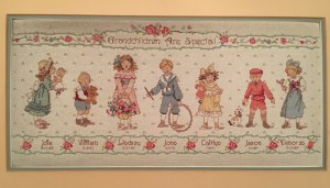 Hanging in the Berk house, a needlepoint sampler I made for Mom, with all of the grandkids and their birthdays.