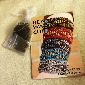 Laura Nelkin gave me this kit to make her Beaded Cuff pattern.  Isn't that thoughtful? I am a big fan of Laura's talent and designs, and am very happy that we got the chance to get to know each other this weekend.
