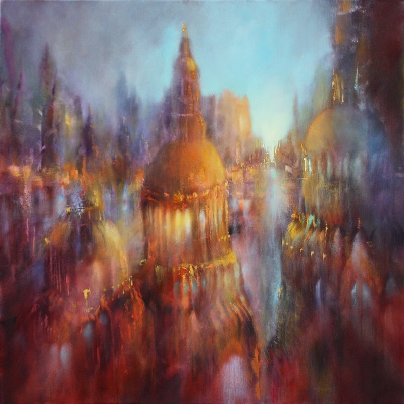 abstract painting of a cityscape