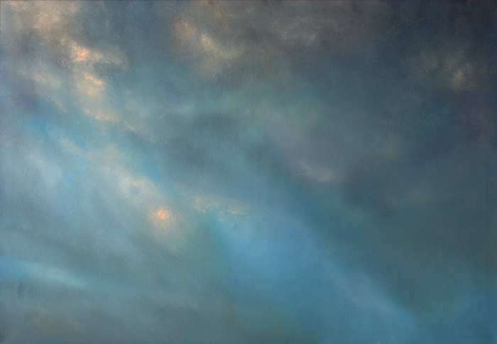 painting of the sea, the sky and the clouds