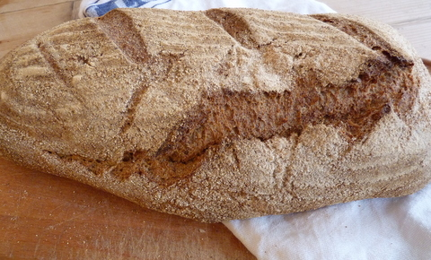loaf of bread made from whole grain flour