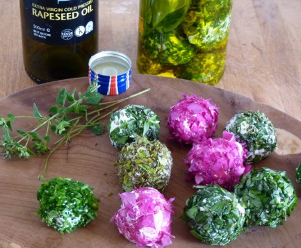 labneh cheese with herbs and rose petals
