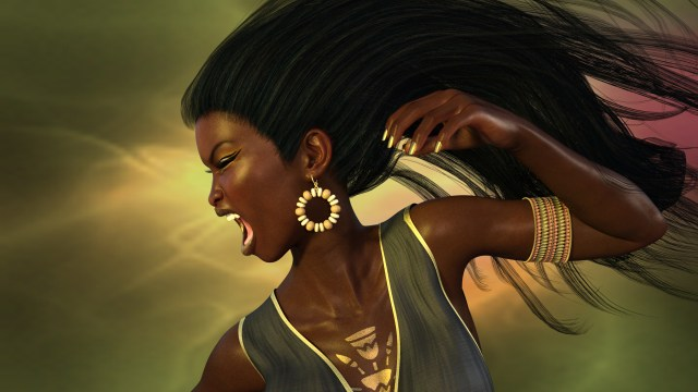 A black woman screaming in front of a gold background