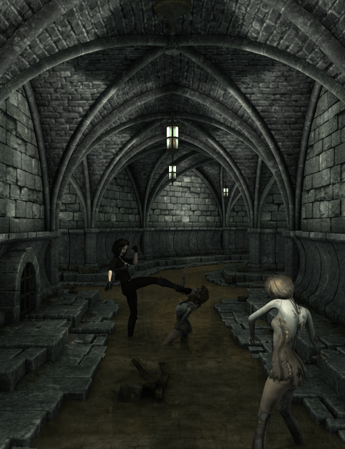 A woman fighting zombies in an underground passage